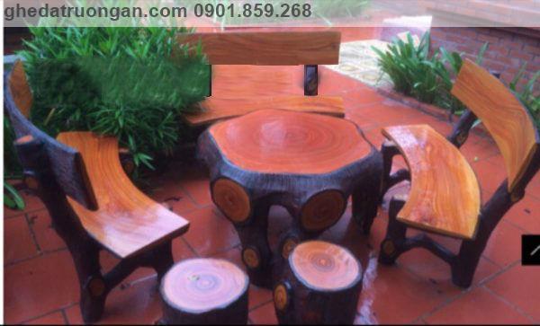 bàn ghế đá xi măng giả gỗ
