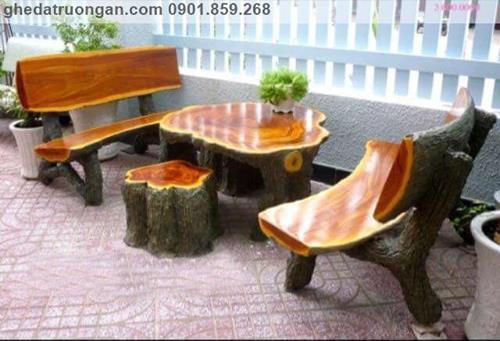 bàn ghế đá giả gỗ Bình Dương