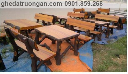 bộ bàn ghế đá giả gỗ đẹp