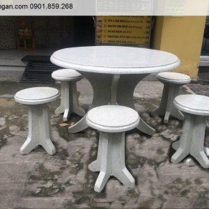 Bộ bàn ghế đá mài không tựa ghế tròn