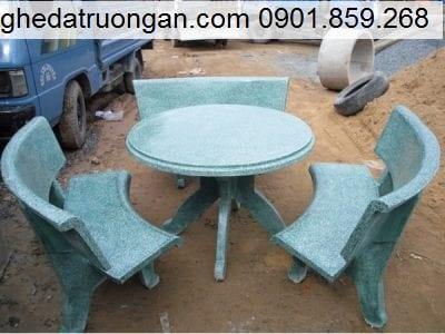Bộ bàn ghế đá mài xi măng tròn xanh