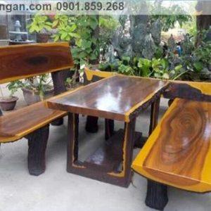 Bàn ghế đá giả gỗ sân vườn đẹp
