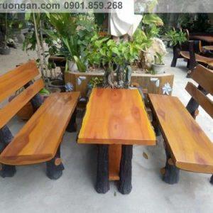 Bàn ghế đá giả gỗ ngoài tròi đẹp