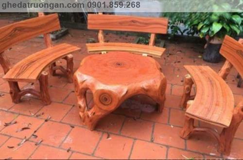 bàn ghế đá giả gỗ nghệ thuật