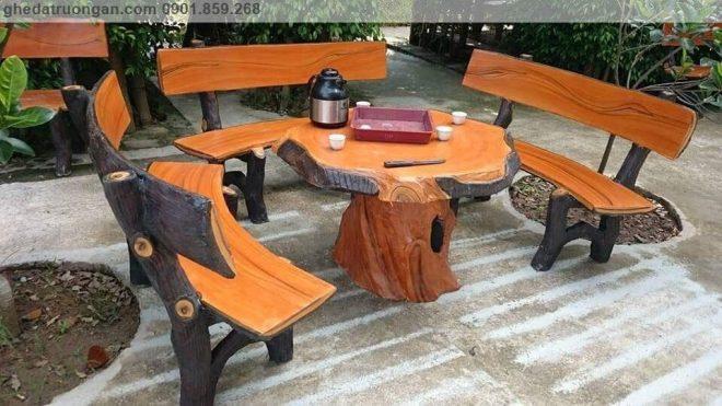 Bàn ghế đá giả gỗ phòng khách