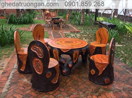 bàn ghế đá giả gỗ