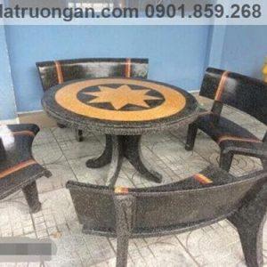 Bộ bàn ghế đá đẹp tròn đen vàng
