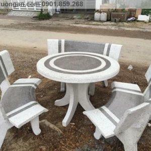 Bộ bàn ghế đá ngoài trời trắng xám