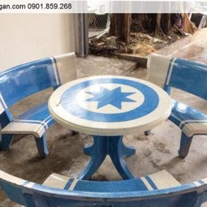 Bộ bàn ghế đá sân vườn tròn trắng xanh