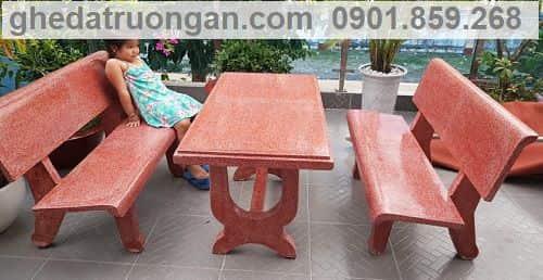 bộ bàn ghế đá công viên đỏ