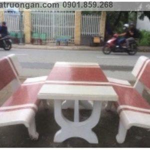 bàn ghế đá ngoài trời trắng đỏ