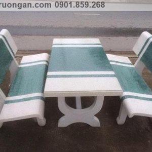 bàn ghế đá ngoài trời trắng xanh lá