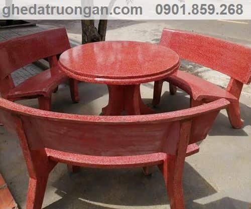 bộ bàn ghế đá trường học tròn đỏ