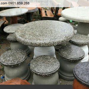 Bộ bàn ghế đá granite tròn trắng