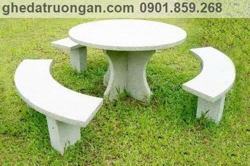 Bộ bàn ghế đá sân vườn tròn trắng không tựa