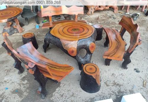 Bàn ghế đá giả gỗ tphcm