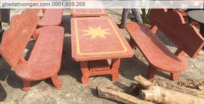 bàn ghế đá granito đỏ