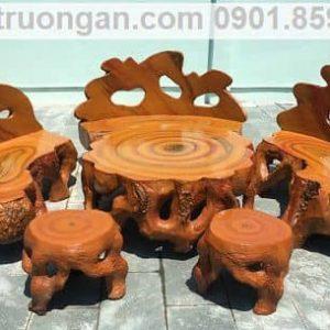 bàn ghế đá giả gỗ cao cấp