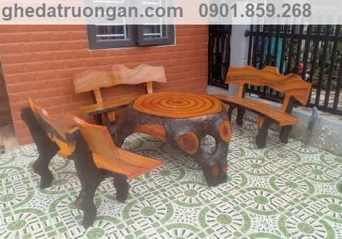 bộ ghế đá bê tông giả gỗ có 3 ghế