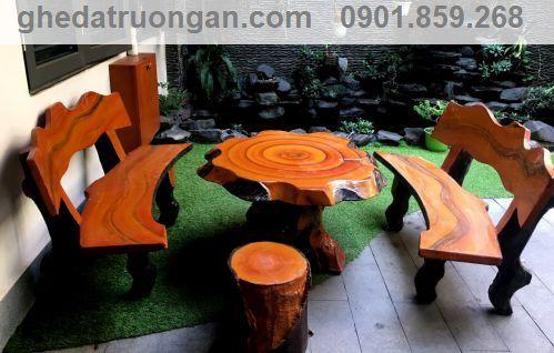 bàn ghế đá giả gỗ miền nam