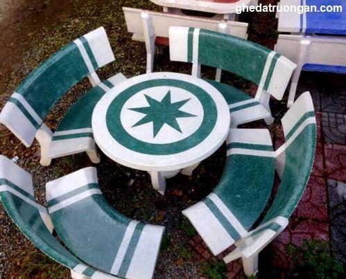 bàn ghế đá granito đẹp rẻ trắng xanh
