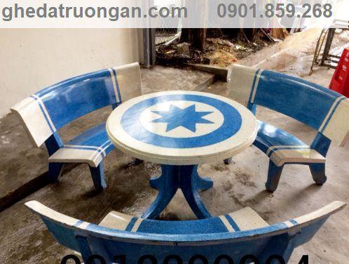 bàn ghế đá ngoài trời trắng xanh dương
