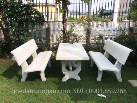 bộ ghế đá chữ nhật trắng