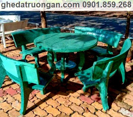 Bàn ghế đá chân Hà Nội 4 ghế xanh