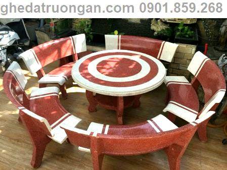 bàn ghế đá tròn 5 ghế trắng đỏ