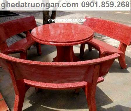 Bộ ghế đá bàn tròn màu đỏ