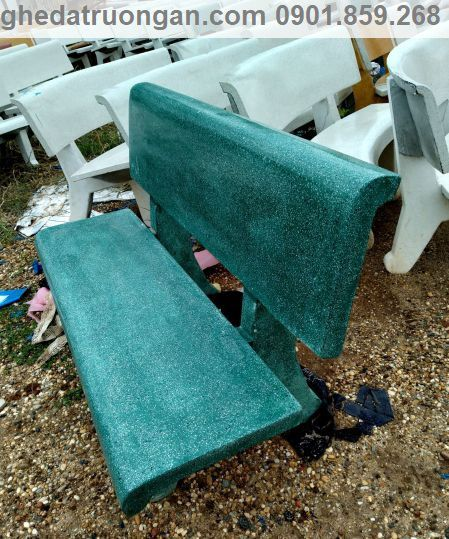ghế đá công viên màu xanh ngọc