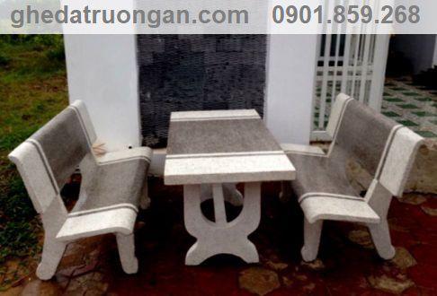 bàn ghế đá chữ nhật màu trắng xám