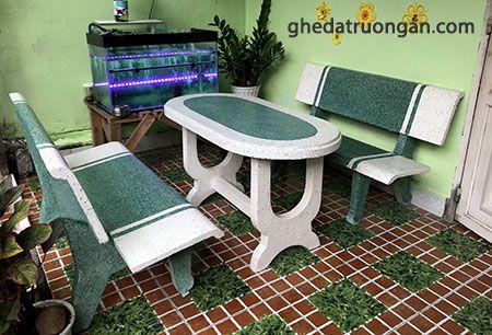 bàn ghế đá ovan trắng xanh ngọc